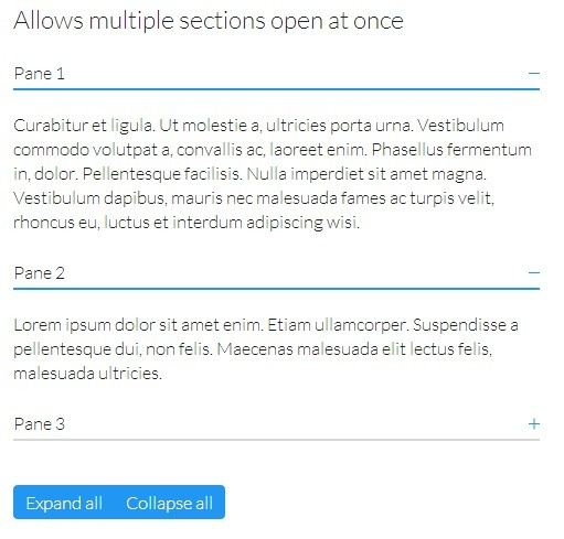 v-accordion Allows multiple sections open at once