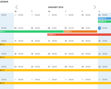 Rich Calendar Control For Angular