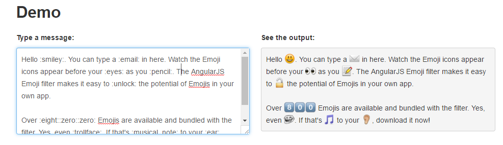 AngularJS Emoji Filter