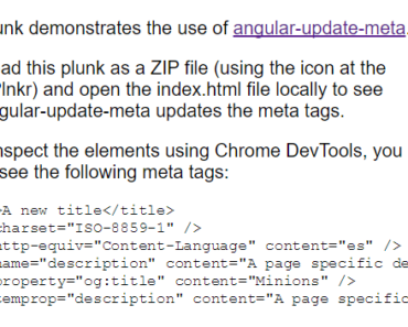 Update meta tags in AngularJS