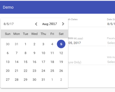 Customisable Angular Material Date Picker